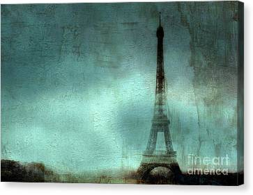 Paris Dreamy Eiffel Tower Teal Aqua Abstract Art Photo - Paris Eiffel Tower Painted Photograph Canvas Print