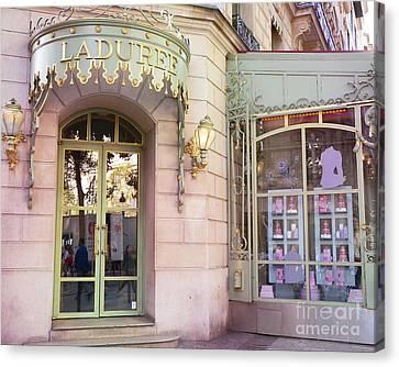 Patisserie Canvas Print - Paris Laduree Patisserie And Tea Shop - Paris Laduree Macaron Tea Shop Decor Prints by Kathy Fornal