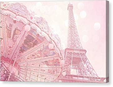 Paris Dreamy Pink Carousel And Eiffel Tower - Eiffel Tower Carousel - Paris Baby Girl Nursery Room Canvas Print by Kathy Fornal