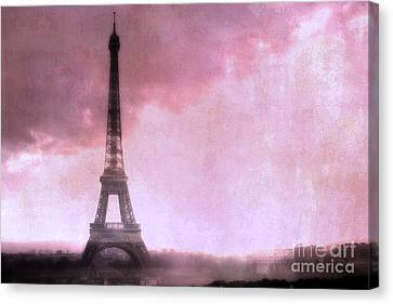 Paris Dreamy Pink Eiffel Tower Abstract Art - Romantic Eiffel Tower With Pink Clouds Canvas Print by Kathy Fornal