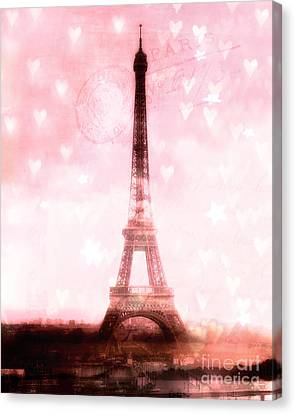 Paris Dreamy Pink Eiffel Tower With Hearts And Stars - Paris Pink Eiffel Tower Romantic Pink Art Canvas Print by Kathy Fornal