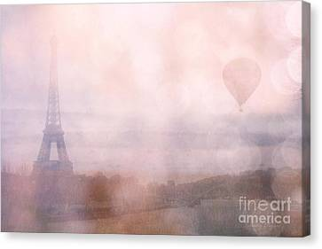 Paris Dreamy Pink Romantic Eiffel Tower - Paris Pink Eiffel Tower And Hot Air Balloons Canvas Print