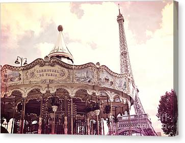 Paris Dreamy Pink Yellow Carousel Eiffel Tower Champs Des Mars - Paris Carrousel De Paris  Canvas Print by Kathy Fornal