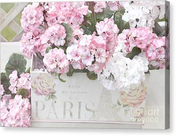 Geranium Canvas Print - Paris Dreamy Romantic Cottage Chic Shabby Chic Paris Flower Box by Kathy Fornal