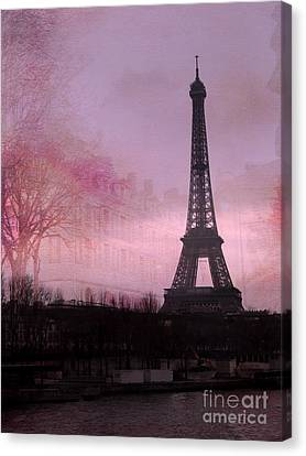 Paris Dreamy Romantic Paris Eiffel Tower Pink Architecture Eiffel Tower Photo Montage Canvas Print