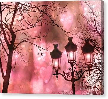 Paris Dreamy Romantic Pink Black Street Lamps - Paris Fantasy Pink Night Lanterns Canvas Print by Kathy Fornal