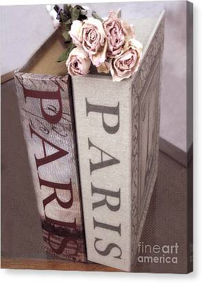 Paris Dreamy Romantic Roses And Paris Books Shabby Chic Cottage  Canvas Print