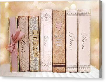 Paris Dreamy Shabby Chic Romantic Pink Cottage Books Love Dreams Paris Collection Pastel Books Canvas Print by Kathy Fornal