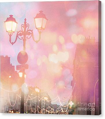 Paris Dreamy Surreal Night Street Lamps Lanterns Fantasy Bokeh Lights Canvas Print by Kathy Fornal