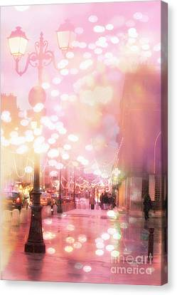 Paris Dreamy Holiday Street Lanterns Lamps - Paris Christmas Holiday Street Lanterns Lights Bokeh Canvas Print by Kathy Fornal