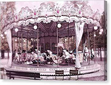 Tuileries Canvas Print - Paris Dreamy Tuileries Park Pink Carousel Merry Go Round - Paris Pink Bokeh Carousel Horses by Kathy Fornal
