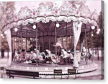 Paris Dreamy Tuileries Park Pink Carousel Merry Go Round - Paris Pink Bokeh Carousel Horses Canvas Print