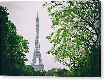Paris Eiffel Surrounded By Trees Canvas Print by Georgia Fowler