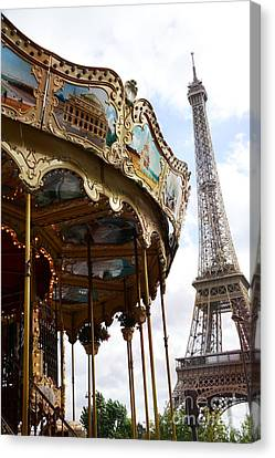 Paris Eiffel Tower Carousel Merry Go Round - Paris Carousels Champ Des Mars Eiffel Tower  Canvas Print by Kathy Fornal