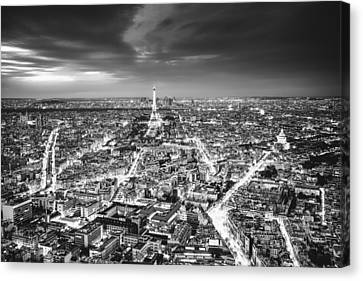 Paris - Eiffel Tower And City At Night Canvas Print by Vivienne Gucwa