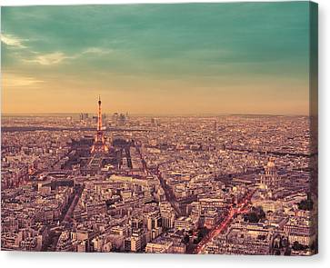 Paris - Eiffel Tower And Cityscape At Sunset Canvas Print by Vivienne Gucwa