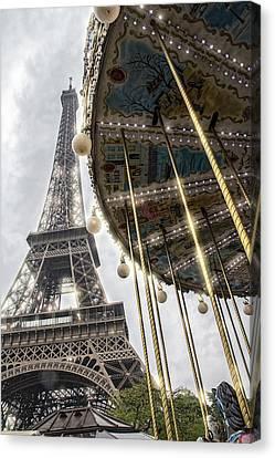 Paris Eiffel Tower And Merry Go Round Canvas Print