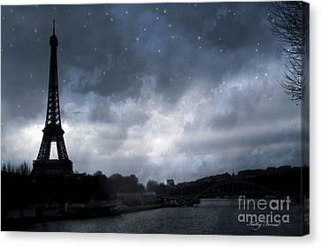 Paris Eiffel Tower Blue Starlit Night Sky Scene Canvas Print by Kathy Fornal