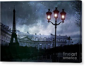 Paris Eiffel Tower Blue Starry Night Street Lamp Fantasy Photo Montage  Canvas Print by Kathy Fornal