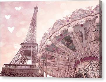 Paris Eiffel Tower Carousel Merry Go Round With Hearts - Eiffel Tower Carousel Baby Girl Nursery Art Canvas Print by Kathy Fornal