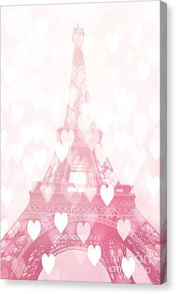 Paris Eiffel Tower Dreamy Pink Hearts Valentine - Paris In Love Eiffel Tower And Hearts  Canvas Print by Kathy Fornal