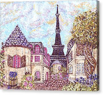 Paris Eiffel Tower Skyline Inspired Pointillist Landscape Canvas Print by Kristie Hubler