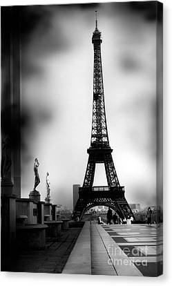 Paris Eiffel Tower - Surreal Black And White Paris Eiffel Tower Photography Canvas Print by Kathy Fornal