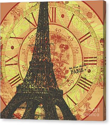 Paris Eiffel Tower Mixed Clock Wall Canvas Print by Art World