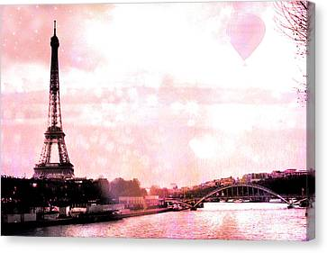 Paris Eiffel Tower Pink - Dreamy Pink Eiffel Tower With Hot Air Balloon Canvas Print by Kathy Fornal