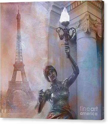 Paris Eiffel Tower Surreal Fantasy Montage Canvas Print by Kathy Fornal