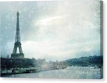 Paris Eiffel Tower Winter Snow - Paris In Winter - Paris Eiffel Tower Winter Fog Landscape Canvas Print by Kathy Fornal