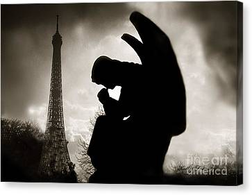 Paris - Eiffel Tower With Angel - Paris Angel At Eiffel Tower  Canvas Print