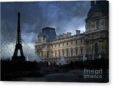 Paris Eiffel Tower With Louvre Museum Montage Photo Painting - Paris Architecture And Landmarks  Canvas Print by Kathy Fornal