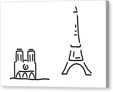 Paris Eiffelturm Notre Dame Canvas Print
