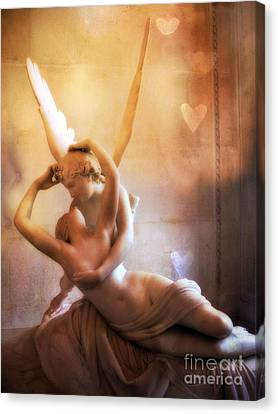 Paris Eros And Psyche Louvre Museum- Musee Du Louvre Angel Sculpture - Paris Angel Art Sculptures Canvas Print