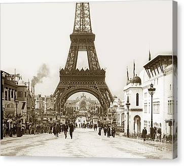 Canvas Print featuring the photograph Paris Exposition Eiffel Tower Paris France 1900  Historical Photos by California Views Mr Pat Hathaway Archives