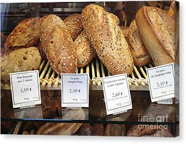 Paris Food Photography - Paris Au Pain Bakery Patisserie - French Bread Canvas Print by Kathy Fornal