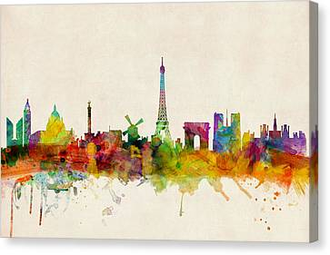 Paris France Skyline Panoramic Canvas Print by Michael Tompsett