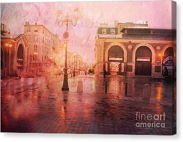 Versailles France Surreal Rainy Night Street Scene - French Script Textured Print Canvas Print by Kathy Fornal