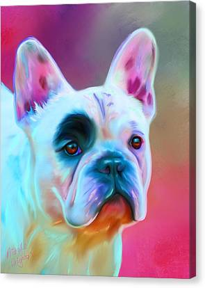 Michelle Canvas Print - Vibrant French Bull Dog Portrait by Michelle Wrighton
