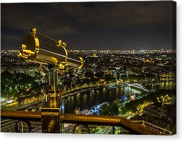 Night Canvas Print - Paris From The Tower by Tim Stanley