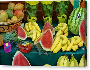 Farm Stand Canvas Print - Paris Fruit Stand by Allen Beatty