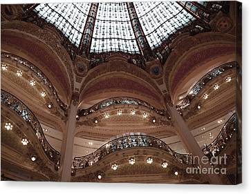 Paris Galeries Lafayette Stained Glass Ceiling Dome - Paris Architecture Glass Ceiling Dome Balcony Canvas Print by Kathy Fornal