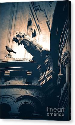 Paris Gargoyles - Gothic Paris Gargoyle With Raven - Sacre Coeur Cathedral - Montmartre Canvas Print by Kathy Fornal