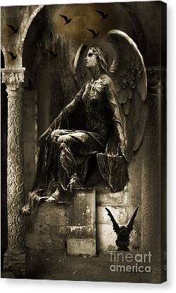 Dark Angel Art Canvas Print - Surreal Paris Gothic Angel Gargoyle Ravens Fantasy Art by Kathy Fornal