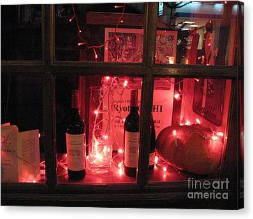 French Wine Bottles Canvas Print - Paris Holiday Christmas Wine Window Display - Paris Red Holiday Wine Bottles Window Display  by Kathy Fornal