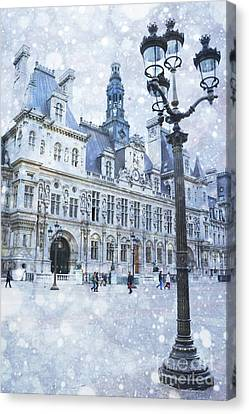 Paris Hotel Deville Winter Blue Snow Scene - Paris Winter Snow Landscape Canvas Print by Kathy Fornal