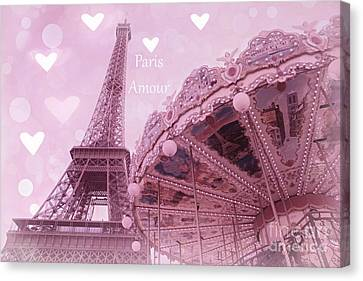 Paris In Love - Paris Amour With Hearts - Eiffel Tower Lavender Hearts Carousel Print - Paris Amour Canvas Print by Kathy Fornal