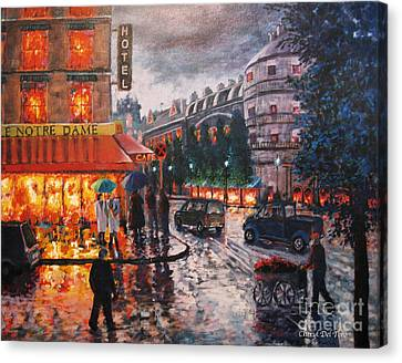 Paris In The Rain Canvas Print by Cheryl Del Toro