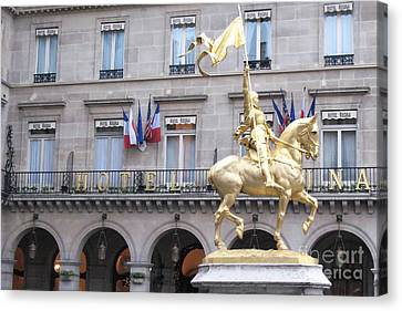 Paris Joan Of Arc Statue In Front Of Hotel Regina  - Joan Of Arc Monument Statue  Canvas Print by Kathy Fornal